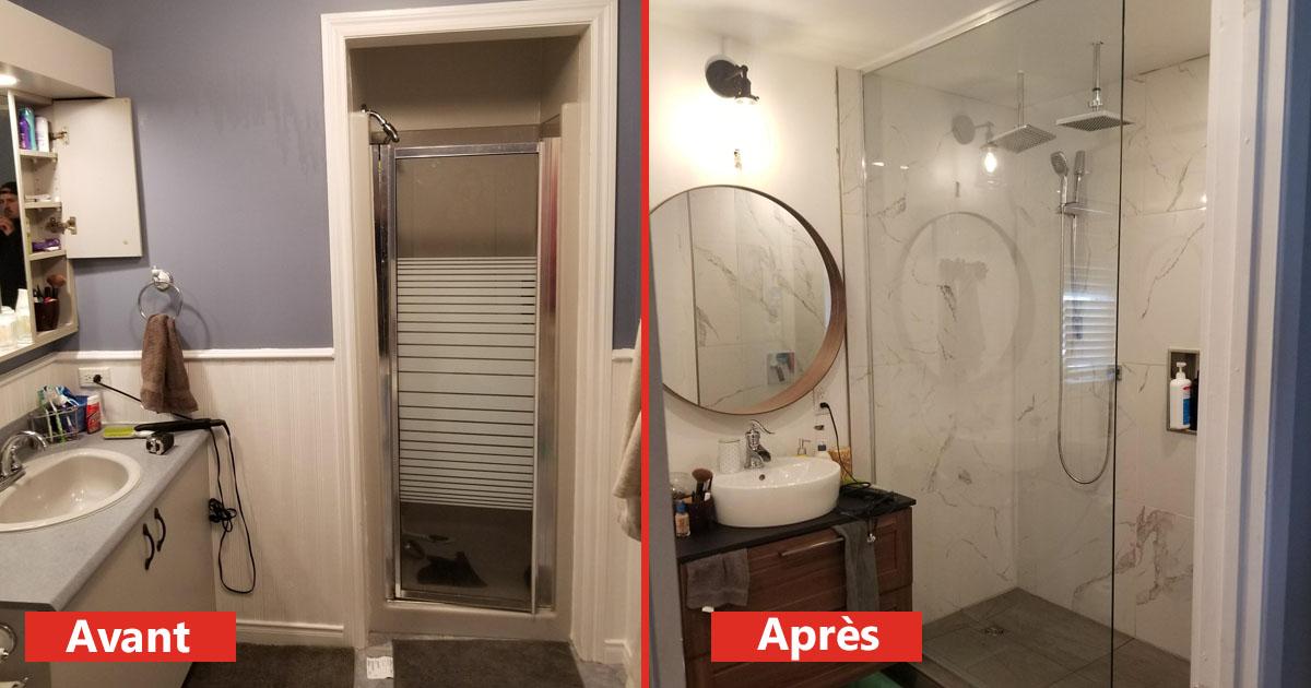 salle de bain, salle de bain rénové, douche moderne, douche neuve
